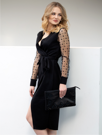 Wrap Dress With Mesh Sleeves Theresa Black