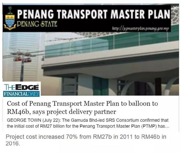 Penang Transport Master Plan: Peningkatan Kos daripada RM 27 bilion kepada RM46 bilion dalam masa hanya 5 tahun