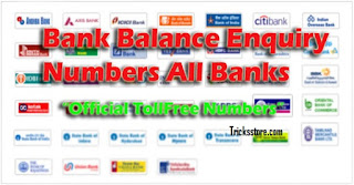 all bank balance enquiry number tollfree numbers tricksstore