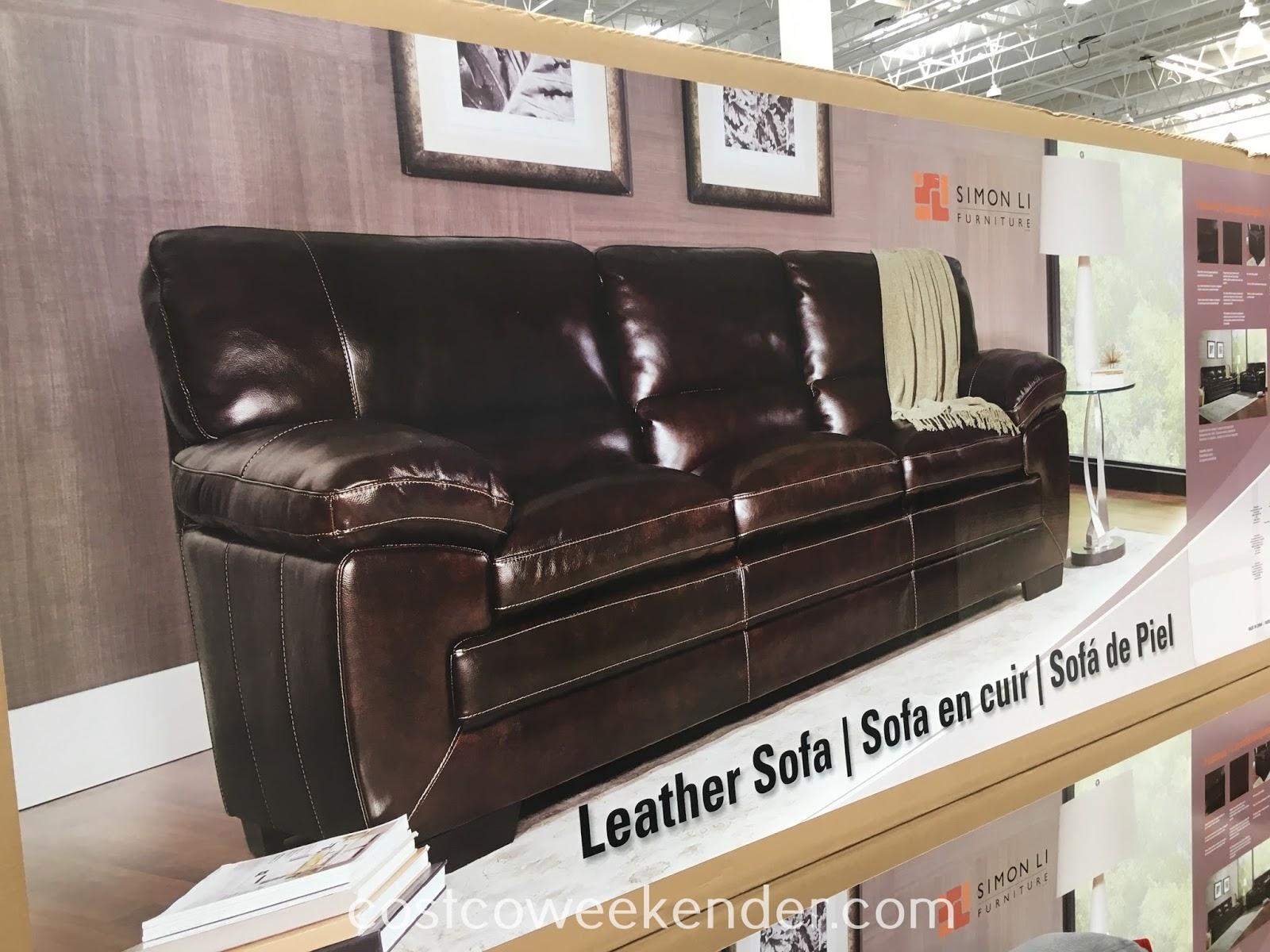 sofa costco ca living room with cream interior design simon li furniture leather   weekender