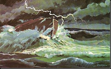 Representación del Arca en el Diluvio Universal, según la Biblia.