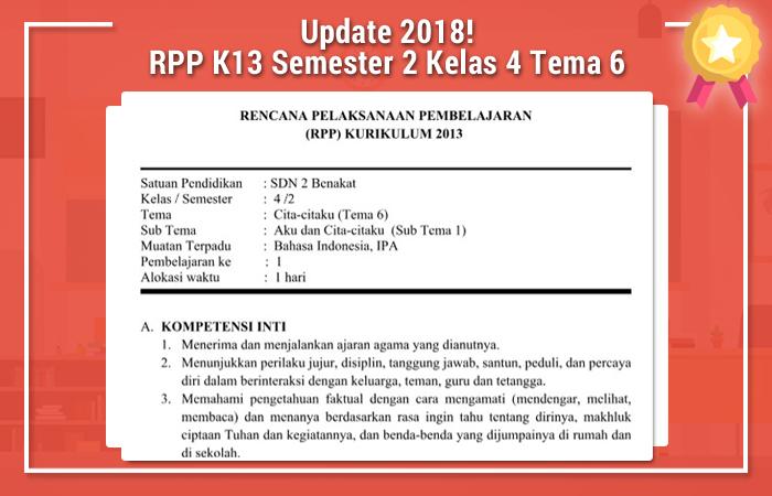 RPP K13 Semester 2 Kelas 4 Tema 6