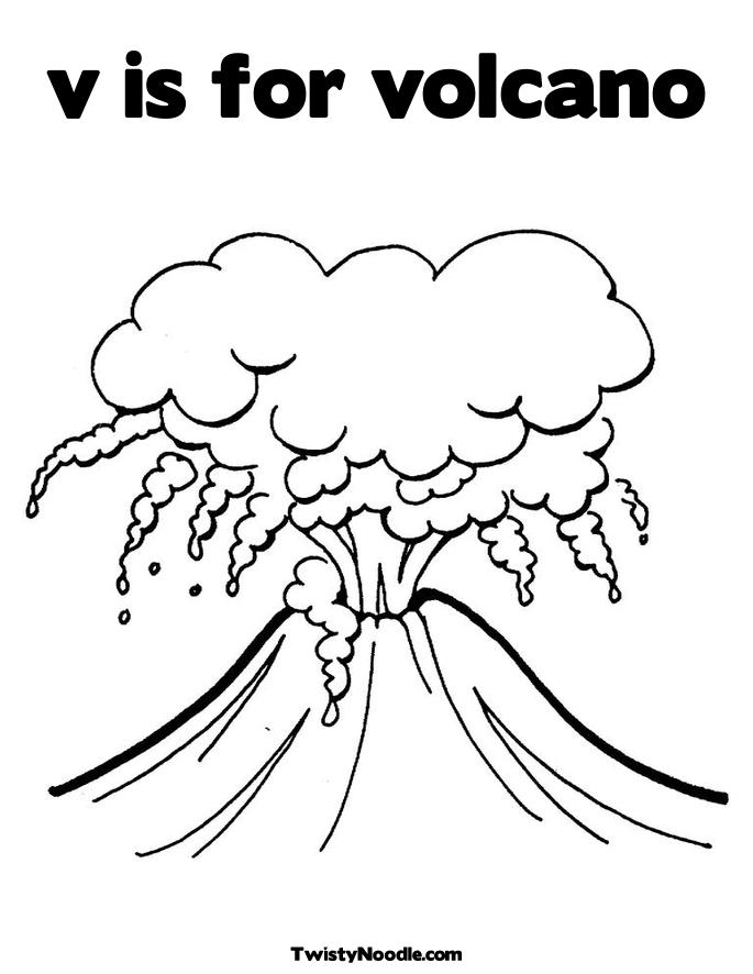 v is for volcano coloring pages - photo #2