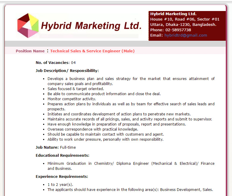 Hybrid Marketing Ltd - Post Name: Technical Sales & Service ...