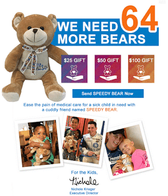 Send a Speedy Bear to a Sick Child Today #NASCAR