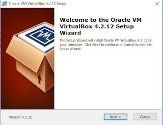 jendela pertama kali instalisasi VirtualBox di windows