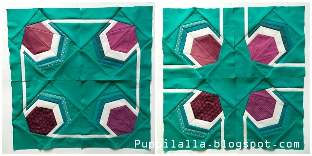 Round Robin Quilt, Puppilalla, Solids, Modern Quilt Design, Starter Block, Color Wheel, Patchwork, Foundation Paper Piecing