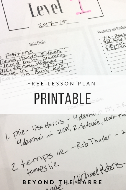 Beyond the Barre: Free Dance Class Lesson Planner Printable