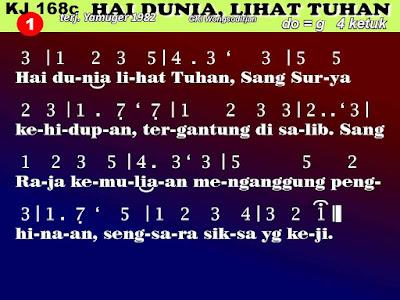 Lirik dan Not Kidung Jemaat 168c Hai dunia, lihat Tuhan