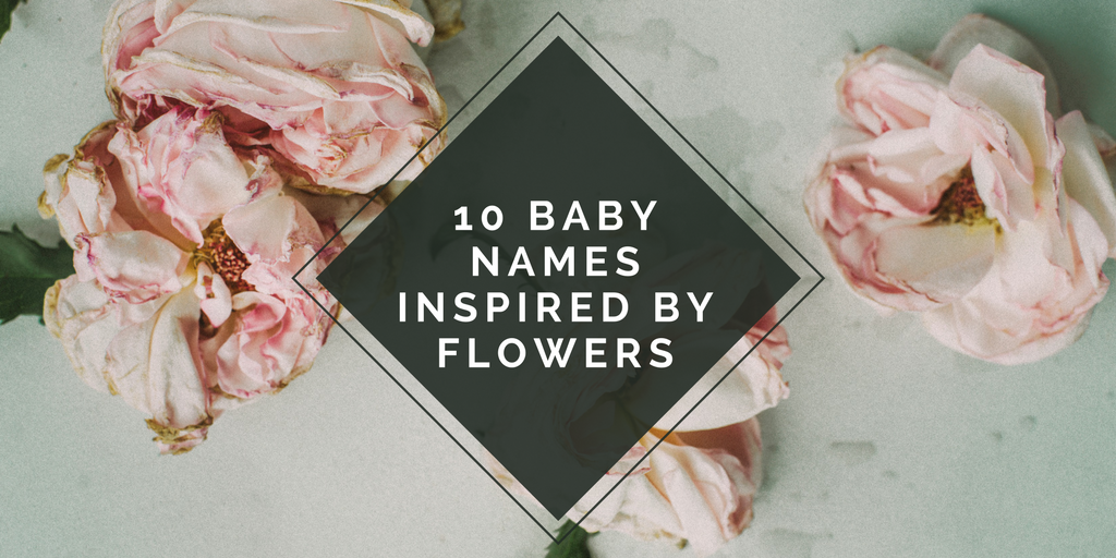 "pink flower background with a black triangle with ""10 baby names inspired by flowers"" written inside"
