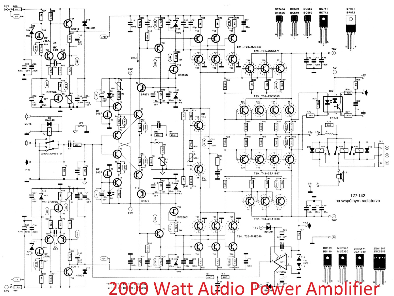 600 Watt Darlington Power Amplifier Circuit 400 370