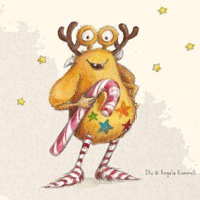 Angela Kommoß, Pumpf Loni, Weihnachten, Glücksbuch, Kinderbuch, Kinderbuchillustration, Glück, Rentier, Resilienz