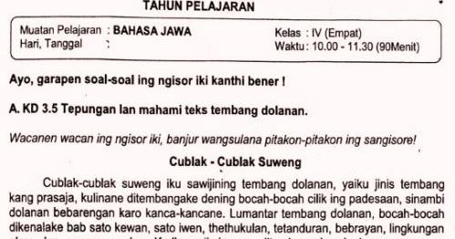 Soal Ulangan Bahasa Jawa Kelas 4 Semester 2 K13 Sekolahdasar Net