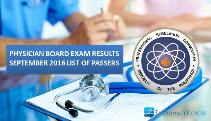 September 2016 Physician board exam results