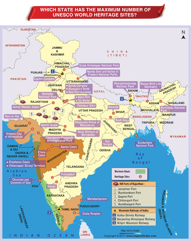 unesco world heritage site india map - 800×1013