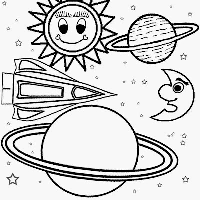 Outer galaxy Planets and space ship solar system easy color print out coloring pages for children