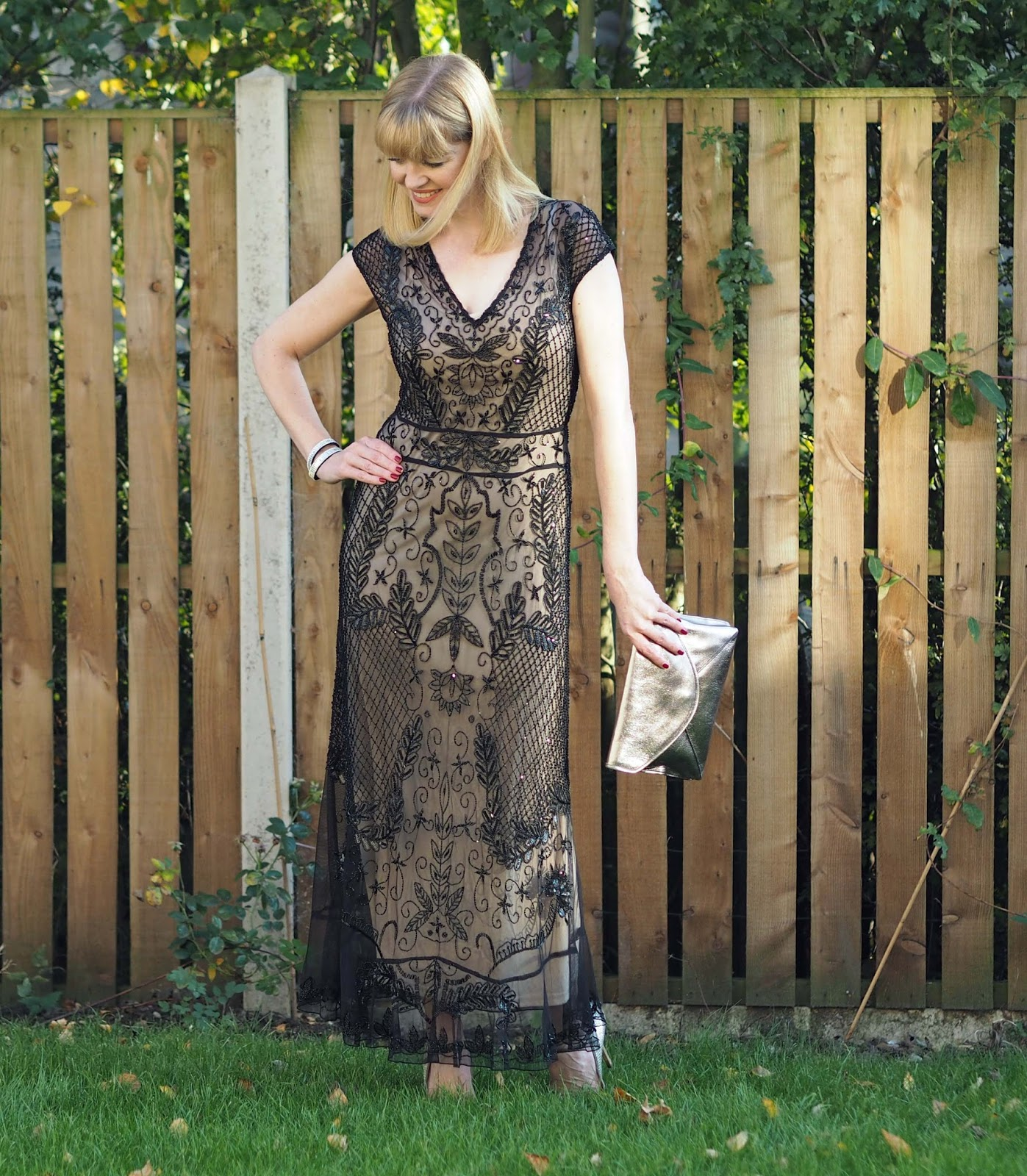 Black beaded cocktail gown, Gatsby style, 1920s. over 40 style