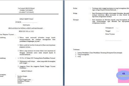 Contoh SK Pengangkatan Kepala Sekolah/Madrasah Swasta