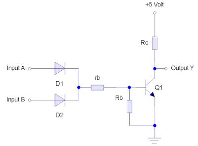 Gerbang NOR yang dibuat dengan 2 dioda, dasar dari teknologi DTL