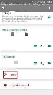 klik tombol blokir untuk block kontak