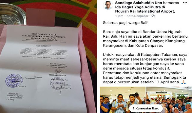 Dilarang Kampanye, Masyarakat Bali Tolak Kedatangan Sandiaga Uno
