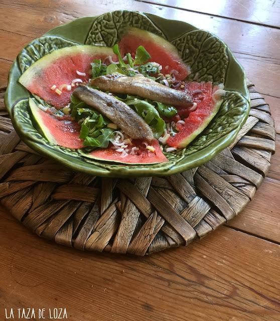 sandía-sardinas-rúcula-canónigos