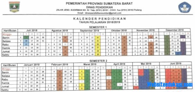 Kalender Pendidikan Provinsi Sumatera Barat Tahun 2018/2019