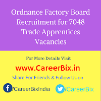 Ordnance Factory Board Recruitment for 7048 Trade Apprentices Vacancies