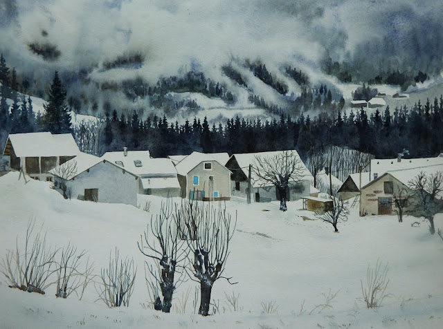 Aquarelle montagne neige