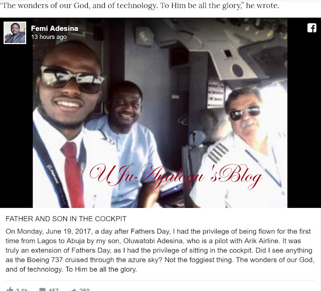 Femi Adesina flown for the first time by pilot son