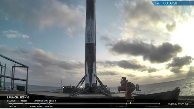 After sending SES-10 toward space, the pre-flown first stage of the Falcon 9 made its second landing on SpaceX's drone ship. Photo Credit: SpaceX webcast.