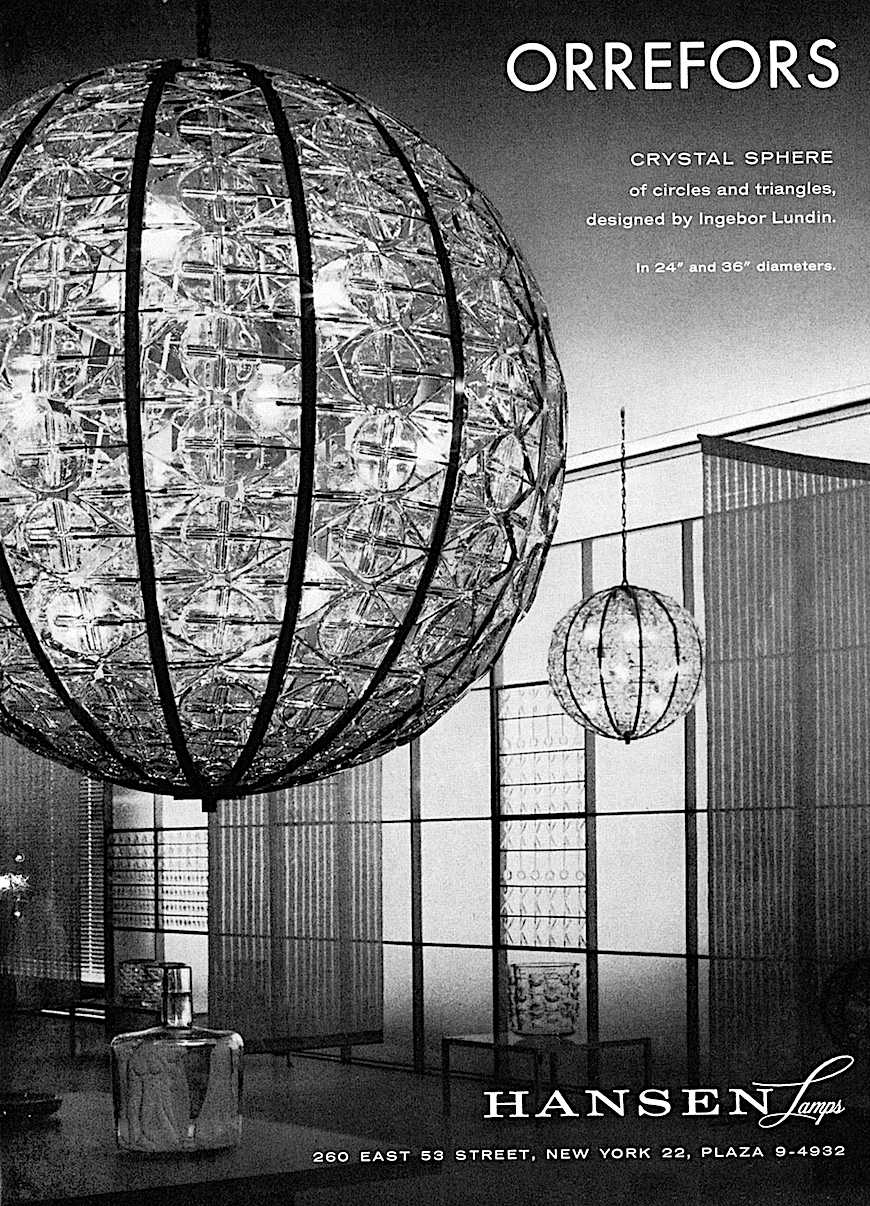 Orrefors crystal spheres advertisement with photograph, large diameter