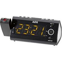 AEG MRC 4121 - Radio (Despertador, proyector, indicador temperatura, fecha y día de la semana), Negro