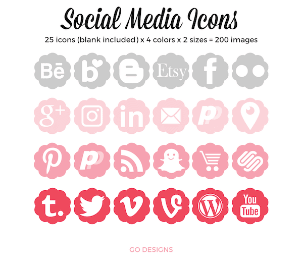Social Media Icons 25 icons x 4 colors x 2 sizes GradeONEderfulDesigns.com