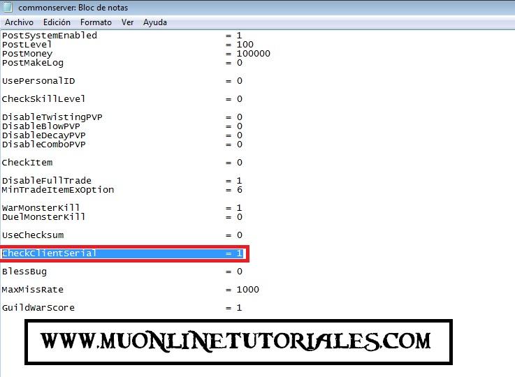 Linea activando el verificador de serial del servidor