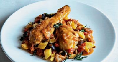 Jamoncitos de pollo de corral asados con verduras