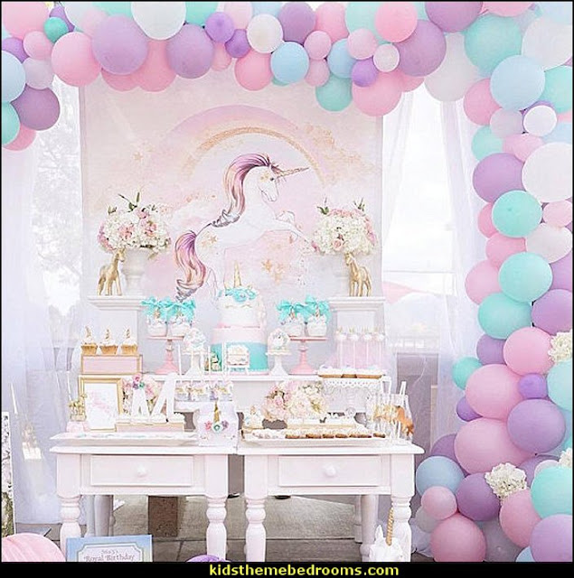 Unicorn Rainbow Balloon Garland Kit  unicorn party supplies - rainbow unicorn party decorations - unicorn birthday party - Unicorn Themed Party -  Unicorn Balloons  -  unicorrn cupcakes - rainbow decorations - Unicorn  Garlands - sequin tablecloth - tutu table skirt -