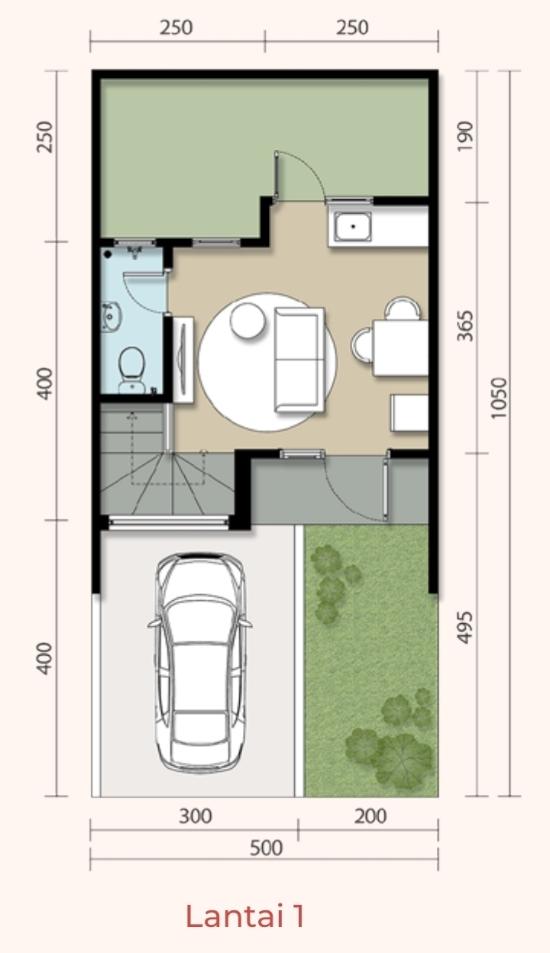 Denah rumah minimalis ukuran 5x10 meter 2 kamar tidur 2