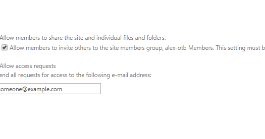 Internal details of setting Access request settings for Sharepoint sites