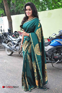 Actress Poorna Latest Pictures in Green Saree at SR Fashion Studio Launch  0011.jpg