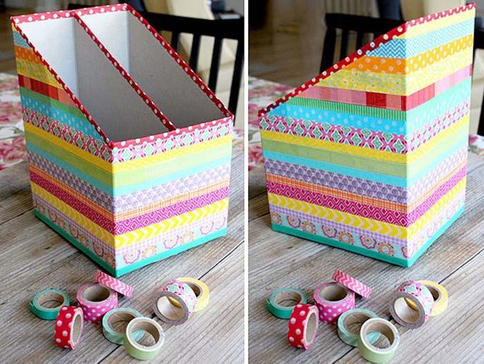 Renkli Bantlarla Kutudan Organizer Yapımı 2