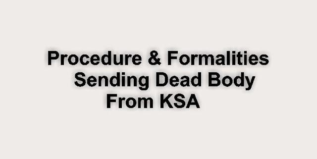 Procedure of sending dead body and formalities