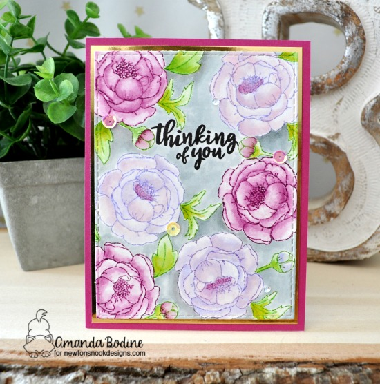 Floral Thinking of You Card by Amanda Bodine | Peony Blooms Stamp Set by Newton's Nook Designs #newtonsnook #handmade