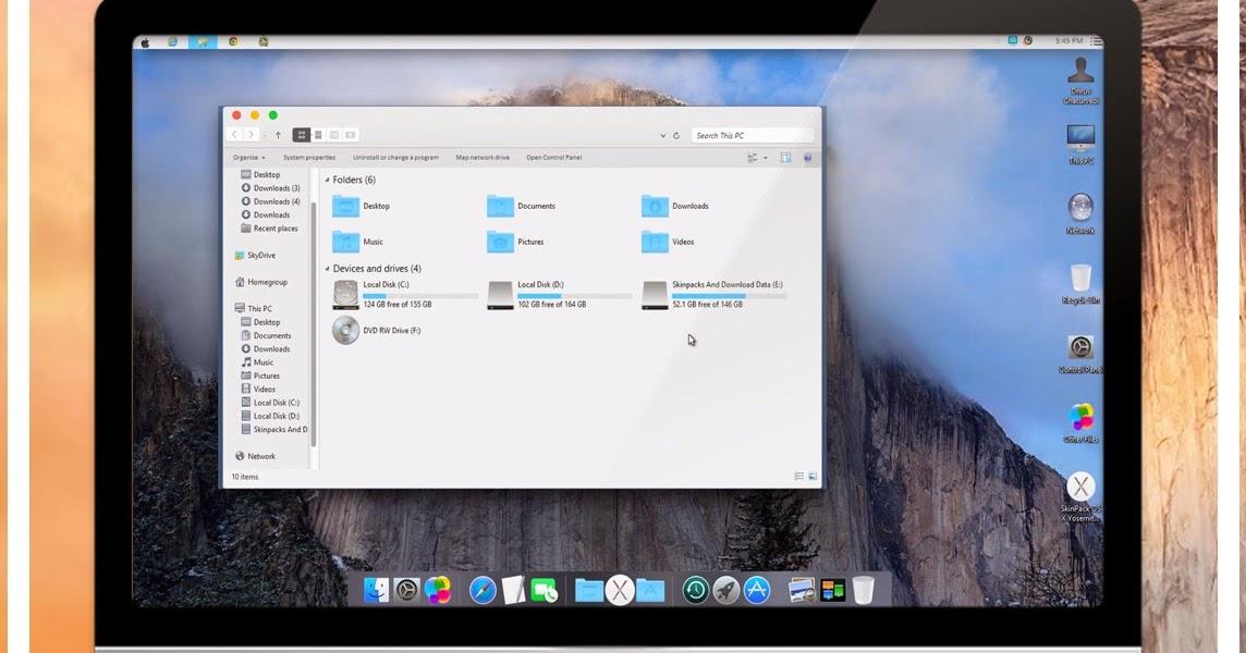 Mac OS X Yosemite Skinpack v2 For Windows 7/8/8 1