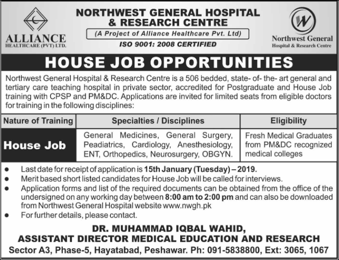 Advertisement for NWGH Jobs 2019