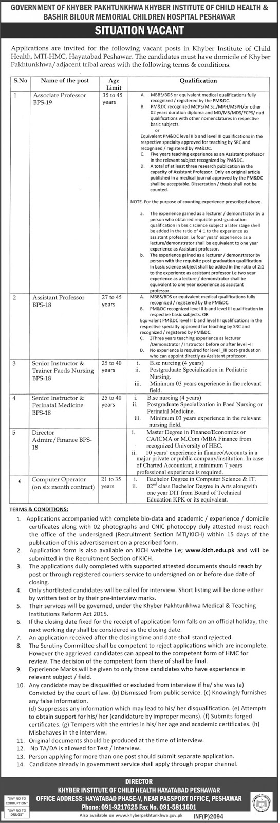 khyber institute of child health peshawar jobs