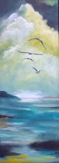 kunst,vesterhav,vadehav,jylland,marsk,danmark,måger,maleri til salg,galleri,skyer,himmel,sky,birds,ocean,denmark,acryl,paint