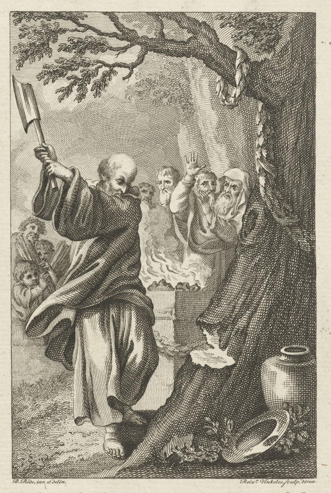 聖なる樫の木を切り付けようと手斧を振り上げるボニファティウス