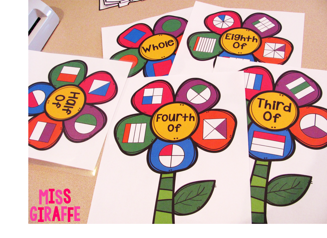 How to make fraction flowers to practice halves and fourths in first grade and thirds and eighths for 2nd grade and a lot of hands on fractions activities that make it so much more engaging!