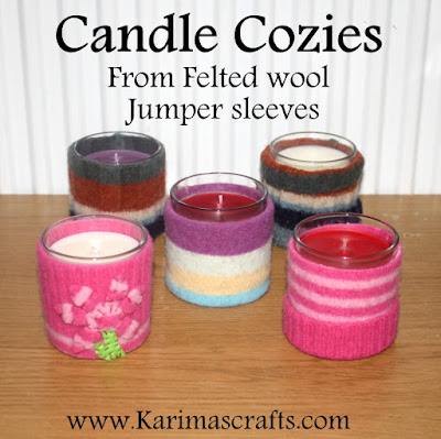candle cozy cozies felt jumper sleeves upcycle